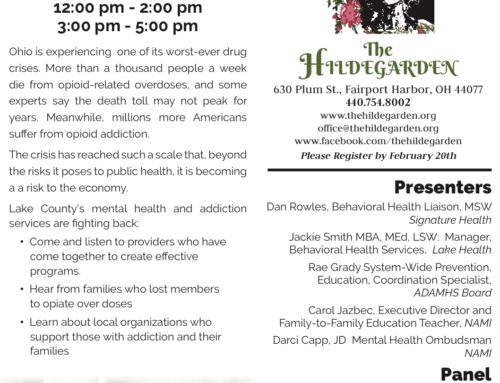 Opiate Conference at The Hildegarden February 24