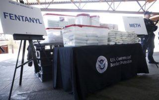 seized fentanyl and meth display